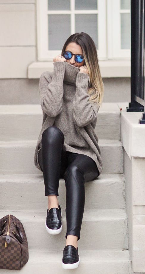 winter-fashion-turtleneck-knit-leather