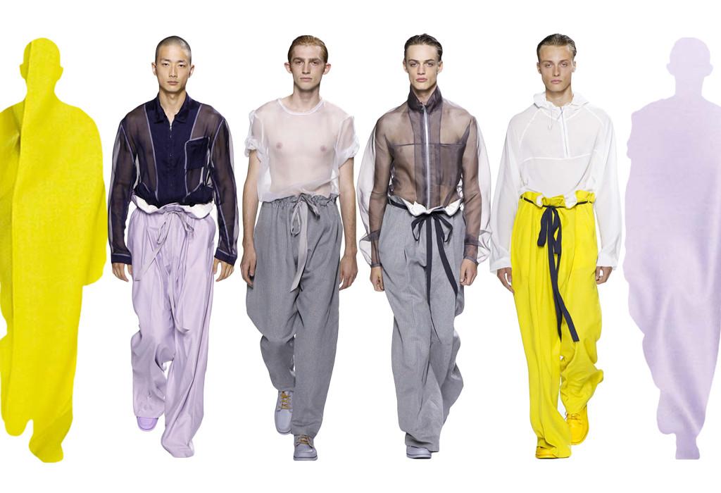Steven Cox a Daniel Silver, stojící za značkou Duckie Brown, experimentovali s tvary a barevností - elektricky žlutá, pastelově fialková s neutrálními odstíny bílé a šedé. I přes použití průhledného šifonu a hedvábně lesklé šarmé má kolekce maskulinní ráz. Čím to bude? Oversized oděvy a sportovně-ležerní, snad i trochu líné, způsoby uchycení oblečení na těle - provazy, stuhy a zipy.