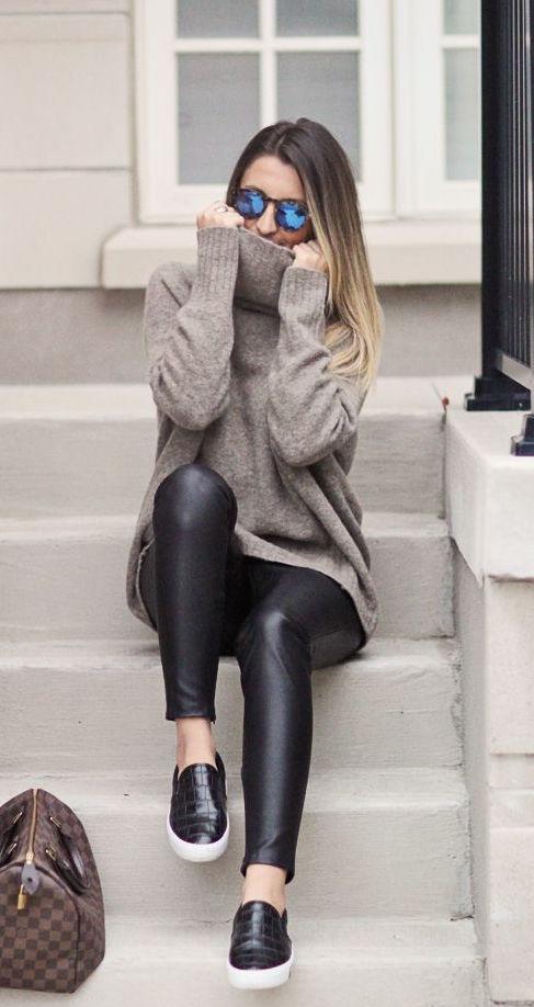 winter-fashion-turtleneck-knit-leather