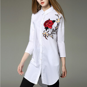 Summer-Fashion-2016-White-Shirt-Women-Rose-Floral-Embroidery-Blouse-Ladies-Office-Wear-Long-Shirts-Camisas